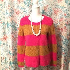 LOFT Pink & Orange Striped Sweater Womens Size XL